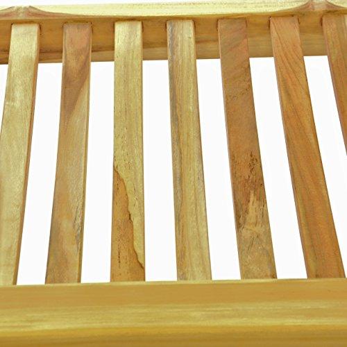 DIVERO 3-Sitzer Bank Holzbank Gartenbank Sitzbank 180 cm – zertifiziertes Teak-Holz Natur unbehandelt hochwertig massiv – reine Handarbeit – wetterfest (Teak natur) - 3