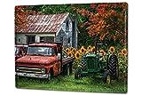 Blechschild XXL Retro Traktor Werkstatt altes Bauernhaus mit Oldtimern