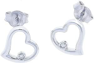 Anelie Gioielli - Collana e Orecchini Punto Luce Donna Oro Bianco (750) 18 carati con Cuore Diamante