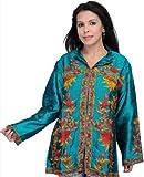 Exotic India Parasailing-Green Kashmiri Jacket with Hand Emb - Parasailing-Green