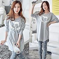 YTNGA Pijamas De Mujer Conjunto demanga de Pijama de algodón de Estilo de América,Conjunto de Pijamas de Encaje Verde, Gris P85, M