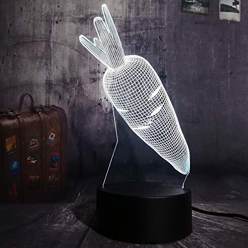 Leselampe Nachttischlampe Tischlampe Schreibtischlampe Tischleuchte Verkauf 3D Neuheit Carrot Led Nachtlicht Multicolor Rgb 7 Farben Remote Usb Acryl Schreibtischlampe Nach Hause