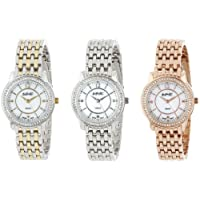 August Steiner Women's Diamond Dress Watch Set - Crytal Bezel with Mother of Pearl Dial on Stainless Steel Bracelet - AS8027