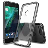 Ziaon Ultra Acrylic Clear Back Scratch Resistant Back Cover With Tpu Bumper + Crystal Black Panel For Google Pixel