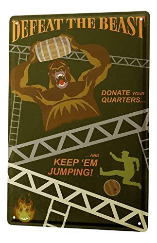Larry Sageasd Gorilla Beast Defeat Barrel Jumping Fun Vintage Metal for Bar Garage Cafe Home 12 X 8 in -