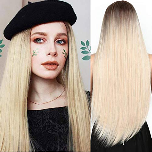 ATAYOU® Lange Frauen Damen Synthetische Perücke Gerade Braune Wurzeln Blonde Ombre Perücken Hitzebeständige Abendkleid Perücke