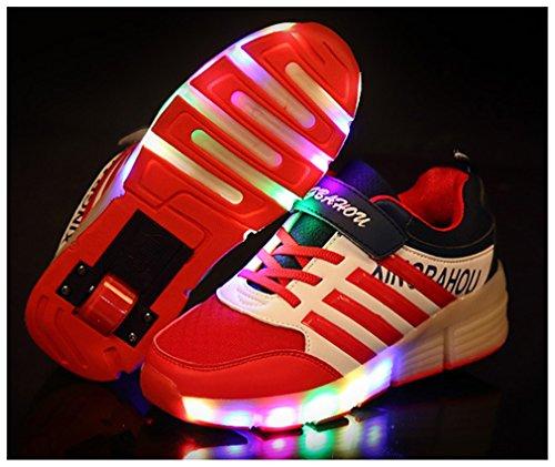 NEWZCERS Unisex Kinder Erwachsene LED Licht Rollschuh Schuhe Trainer mit einem einzigen Rad Rot