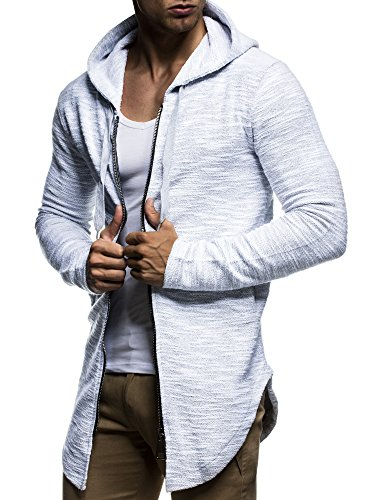 LEIF NELSON Herren Pullover Kapuzenpullover Hoodie Sweatjacke Jacke Basic Langarm oversize Shirt Sweater LN6301 Grau