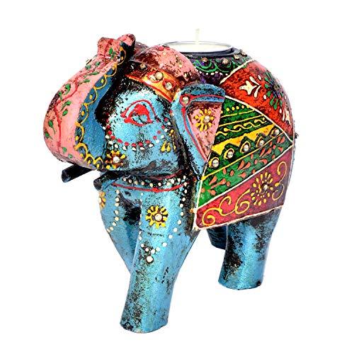 Jaipur Handicrafts - Soporte para Velas, diseño de Elefante, Hecho a Mano