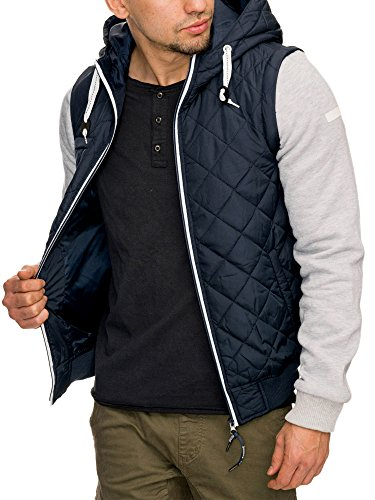 INDICODE Hommes Veste Amovible Manches Coupe-vent Imperméable Veste Veste d'extérieur Veste à capuche Veste d'hiver Harry Bleu Noir S M L XL XXL Bleu