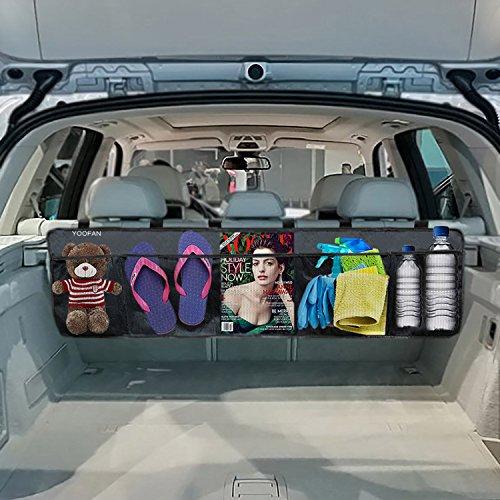 YOOFAN Trunk Organizer, Car Trunk Organizer, Oxford Cloth Waterproof Back Seat Storage Organizer with Multiple Mesh Pocket, Adjustable Straps, Velcro