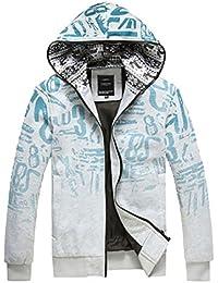 Amurleopard Veste homme Casual Hoodie a capuche imprime Graffiti Outerwear sport zippe