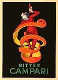 World of Art Riproduzione di poster in stile vintage, motivo: birre, vini e alcolici, con scritta Bitter Campari, Italia 1921, di Leonetto Cappiello, 250 g/m², carta lucida, A3