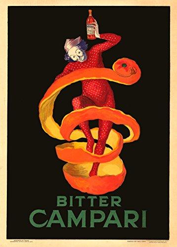 Spirituosen-kunst-plakat (Vintage Beers, Weine und Spirituosen Bitter Campari, Italien Nachbildung von Leonetto Cappiello 250gsm, Hochglanz, A3, vervielfältigtes Poster)