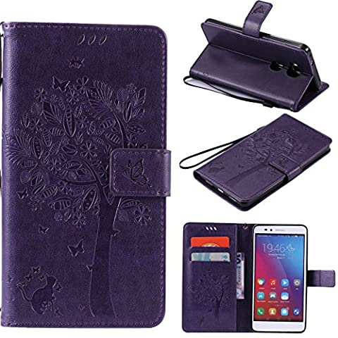 Huawei Honor 5X Case SmartLegend Huawei Honor 5X Wallet Case PU Wrist Strap Elegant Kitty Under The Tree Relief Folio Cellphone Case Stylish Leather Bumper Stand Function Anti Shock Flip Case with Magnet Closure and Card Slots Holster Bookstyle SmartPhone Protective Case