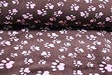 Stoff/Meterware ab 25cm / Ökotex 100 / Wellness Fleece Pfoten Rosa auf Braun