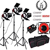 3x 800W (2400W) Video Dimmable Red Head Tungsten Continuous Lighting Monolight Kit with Dimmers and Heat Releasing Rings Video lighting + Aluminum Light Stand Tripod with Carry Bag(DIMMER is included)