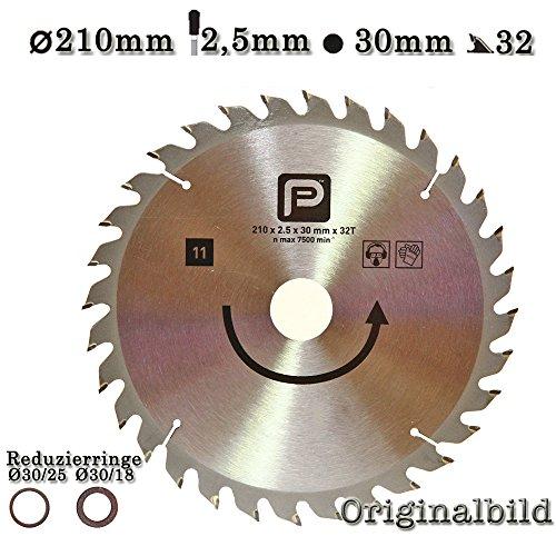 Kreissägeblatt Hartmetall HM 210 x 2,5x30mm mit 2 Reduzierringe auf 18 und 25mm 32 Zähne Holz 2608641264