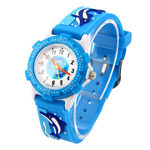 mband Uhr Wasserdichtes 3D lieblich Tiere Cartoon Digital Armbanduhr Zeit Lehrer Geschenk für Kinder kleine Mädchen Jungen (Blau Wal) ()
