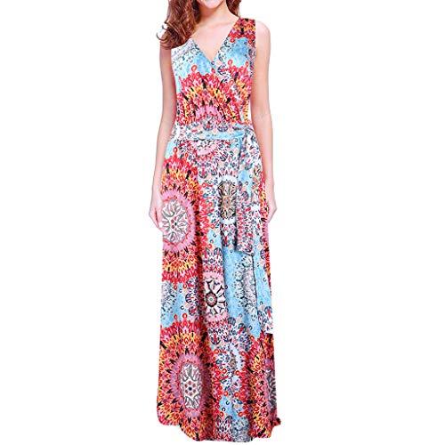 Amuse-MIUMIU Boho Maxi Dress,Women Sleeveless Casual Long Dresses Beach Dresses Bohemian Printed Maxi Dress Loose Western A-Line Party Mixi Dress Fancy Dress for Women/Girl/Lady