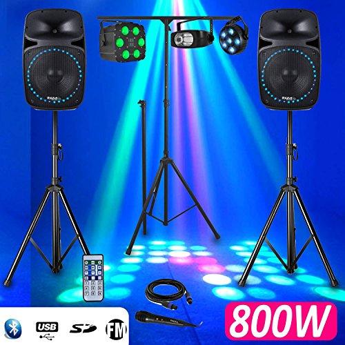 """Pack Sono DJ PA 800W 2 Enceintes Actives/Passives LEDs 12"""" FM/USB/SD/BLUETOOTH + Portique et Pack Lumières"""
