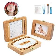 Idea Regalo - Denti Box, LEADSTAR Scatola per Dentini, Portafoto In Legno Denti box Scatola dei Ricordi per Denti da Latte dei Bambini, Memoria Scatolina Dentini in Legno Regalo Neonati, Teeth Box - Set da 5 Pezzi