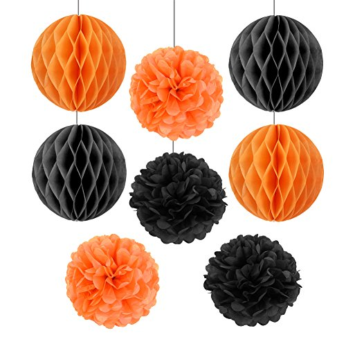ange & Schwarz Wabenbälle Pompoms Halloween Dekoration (20cm) (Halloween Orange County)
