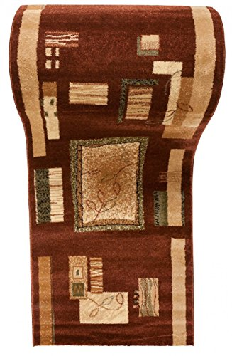 WE LOVE RUGS CARPETO Läufer Teppich Flur - Geometrisches Muster - Dicht Gewebt Teppichläufer - Läufer nach Maß - KIRTAN Kollektion - Braun - 90 x 350 cm