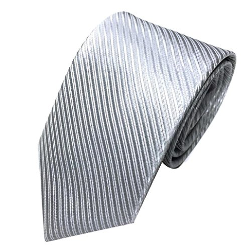 Herren Krawatten SOMESUN Mens-klassischer Jacquardwebstuhl gesponnene gestreifte Krawatte Bindungs Party Hochzeits Krawatte (silber)