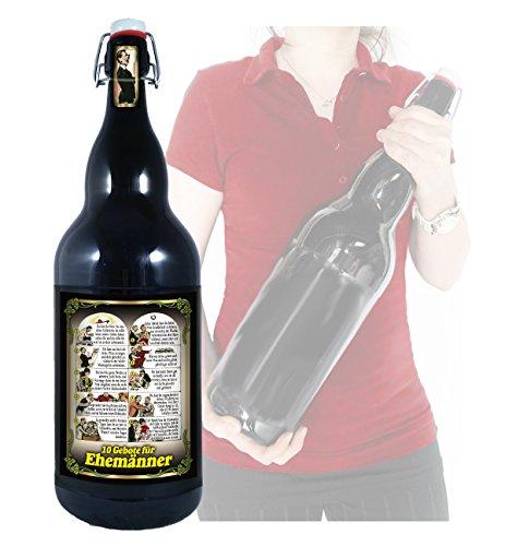 10 Gebote für Ehemänner - 3 Liter XXL-Flasche Bier mit Bügelverschluss