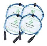 Pronomic Stage XFXM-Blue-1 Câble Micro XLR 1m bleu métallique Lot de 4