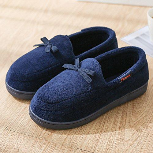 DogHaccd pantofole,Il cotone pantofole indoor gli uomini e le donne spesso invernale, antiscivolo coppie home soggiorno caldo con grazioso sacchetto di peluche con le scarpe Blu scuro3