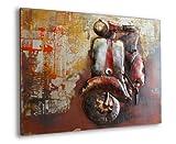 Phoenixarts Scooter Designer Metallbild 3D / Vespa Wandrelief/Motorroller Relief/Vintage Metall Bild Motorrad / 100x75x5 cm