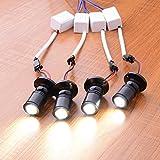 Midore 4er mini LED Einbaustrahler Minispot Einbauleuchte Aluminium Weiß mit Transformer (Schwarz Weiß)