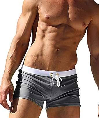 Imixcity Uomo Costume da Bagno Elastico Boxershorts con Taschino e Coulisse