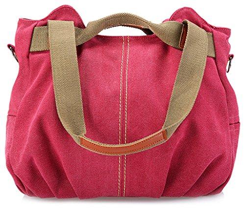 ERGEOB Damen Canvas Handtasche Schultertasche grau 08 rot
