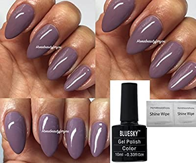Bluesky D76 Move Over Mauve Nail Gel Polish UV LED Soak Off 10ml PLUS 2 Homebeautyforyou Shine Wipes