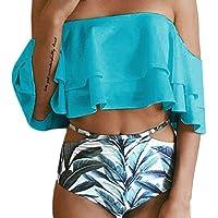 bikinis mujer,Beikoard Patrón de la hoja del hombro de la señora Split bikini dos