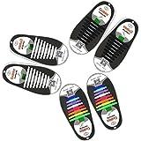 3 Paia Mocent Lacci per scarpe elastici in silicone,che non hanno bisogno di essere annodati,per scarpe da bambini e adulti,per corsa ed esercizio,facili da lavare,disponibili in vari colori, Adult