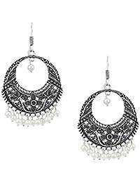 Shining Jewel 925 Antique Silver Chandbali Earings (SJ_853)