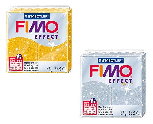 Staedtler 8020 AMZ 02 - Fimo Efecto Purpurina plastilina, a 2 cuadras, 57 g, Amarillo / Plata