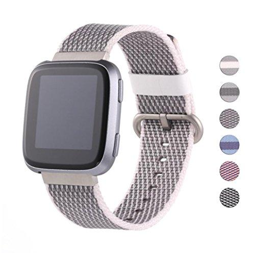 IGEMY Nylon Armband Leichte Verstellbare Ersatz Uhrenarmband Sport Armband für Fitbit Versa (F)
