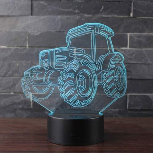 Nmdztz Traktoren Thema 3D Lampe Led-Nachtlicht 7 Farbwechsel Touch Stimmung Lampe ()