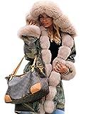 Roiii® Frauen Winter Camouflage Dicker Grauer Pelz Parka Lange Kapuzenjacke Mantel (36, Armee Beige)