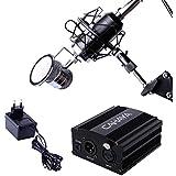 Kit Micrófono de Condensador + Adaptador Phantom de 48V Cahaya, Micrófono con diafragma polar cardioide con Adaptador de Alimentación, Incluye Soporte Antivibración