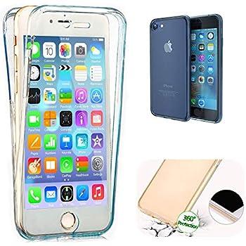 COVER iPhone 7 Custodia Full Body Giallo Gomma GEL Fronte Retro