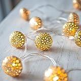 BabyIn 20 LED de Navidad de Cobre marroquí Festival de luces de hadas Iluminación Ambiental para dormitorio Vivir, Boda, Navidad, Fiesta, Casa-Amarillo