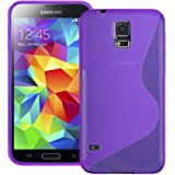Purple S Curve XYLO-GEL Skin / Case / Cover for the Samsung Galaxy S5 / S 5 Mobile Phone. Includes ClearICE Screen Protector Guard.