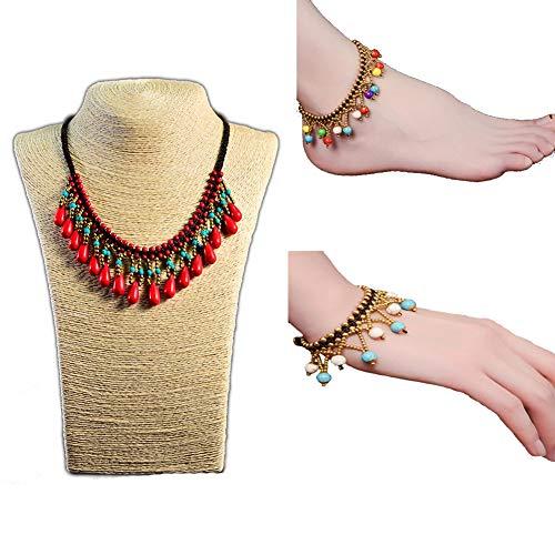Udecoroption Tassel Halskette, Vintage Choker Pendant Halskette mit Bell Armband und Anklet für Kostümaussage Set von 3 Bt Bell