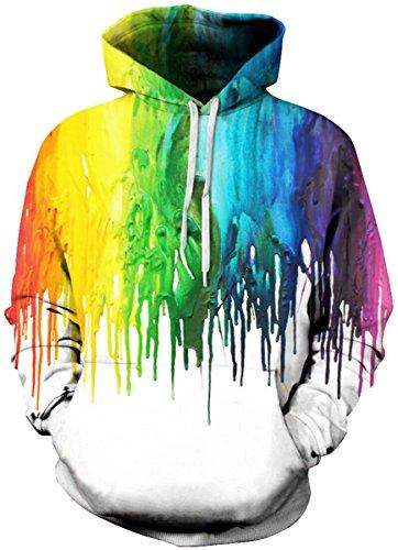EmilyLe Herren Bunte Pullover mit Taschen Hoodie Long Sleeve Kapuzenpullover 3D Druck Cartoon Muster Sweatshirt bunt Farbe